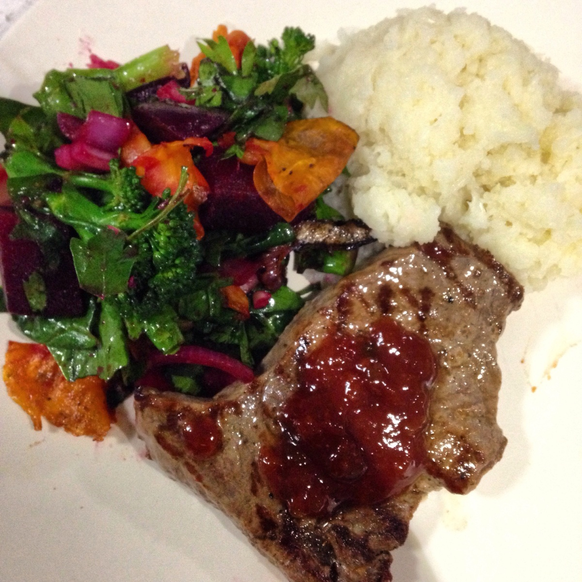 High Protein dinner: Organic Grass fed Beef and Spinach Beetroot Salad with Cauliflower Mash